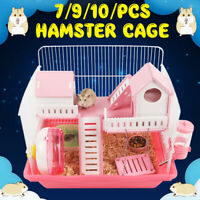 Hamster Cage Rodents Feeding Habitat Portable Gerbils Mice Mouse with
