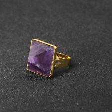 Anillo Ajustable Dorado Art Deco Cuadrado Pirámide Amatista Púrpura Simple Retro