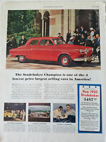 1950 Red Studebaker Champion  Car Color Original  Ad
