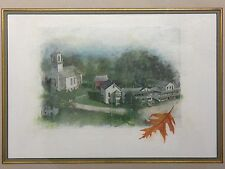 oil painting illustration framed and signed by stuart kaufman 1926-2008