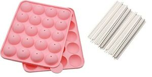 22.5cm Silicone Cake Pop Mould Kit Including 20 Lollipop Sticks Bakeware Gift