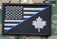 CANADA USA FLAG BLUE LINE PATCH CANADIAN AMERICAN SWAT POLICE THIN BLACK BADGE