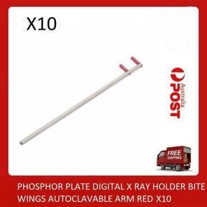 DENTAL PHOSPHOR PLATE DIGITAL X RAY HOLDER BITE WINGS AUTOCLAVABLE ARM RED X10