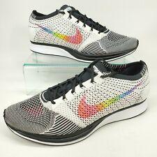 Nike Flyknit Racer Be True 902366-100 White Multicolor Pride Rainbow Men Sz 11.5