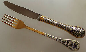 0.925 Russian solid silver gold plated niello decorated  knife and fork