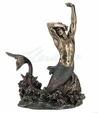 Large Merman Stretching On Rock Statue  Figurine Sculpture - *Ships Immediately