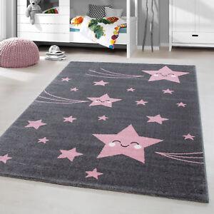 Kurzflor Kinderteppich Sternschnuppe Sterne Soft Babyzimmerteppich Grau Pink