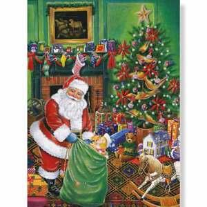 Religious Christmas Santas Presents Advent Calendar with Gold & Silver Glitter 1