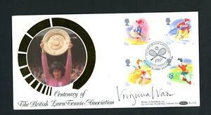 1988 Lawn Tennis Association, Benham Silk FDC, Signed Virginia Wade