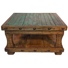Square Coffee Table with Shelf Brazilian Pine Rustic Western Lodge Cabin