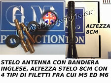 STELO ANTENNA CM 10 BANDIERA INGLESE FILETTO M5 M6 MINI ROVER LAND ROVER JAGUAR