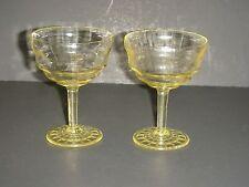 Yellow Depression Glass Block Optic Dessert Sherbets Set 2