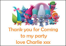 Personalised Kids Trolls Party Thank You Stickers - Pack Of 24 64 x 33.9 mm