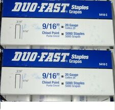 "Lot of 10000 Duo-Fast 5418C 9/16"" Length x 3/16"" Crown 20 Gauge Staples DUOFAST"