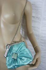MISS M turquoise blue green satin jewelled pleated small evening handbag BNWT