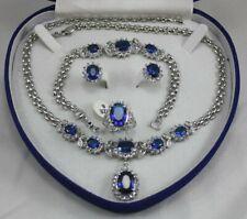 18K GP White Gold Blue Sapphire Set Earring Bracelet Necklace