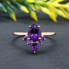 Purple Amethyst Pear Round Solitaire Solid Gold Engagement Wedding Ring KD727