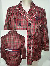 TOMMY HILFIGHER Womens Windbreaker Plaid Jacket Double Breasted Sz M Medium
