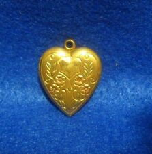 Puffy Heart-Shaped Locket Necklace Pendant Victorian Antique 10K Solid Gold