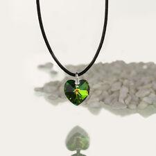 Halskette, Lederkette mit SWAROVSKI ELEMENTS Herz Farbe Vitrail Medium