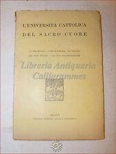 L'UNIVERSITA' CATTOLICA DEL SACRO CUORE Storia Valore dei Titoli Organizzazione