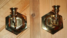 TWO Polished Brass Wall Mounted Candleholders Candleabra STUNNING!