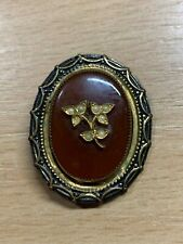 "ANTIQUE BROWN STONE WITH PEARL & LEAF DESIGN 1.5"" x 1.25"" BROOCH"