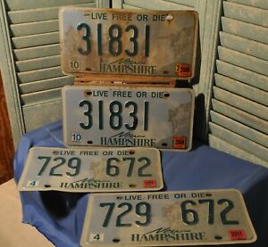 4 New Hampshire License Plates 2 Pairs Old Man Mountain 2000's Collectible Used