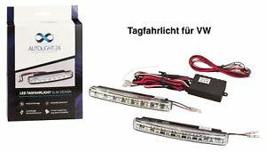 Tagfahrlicht 16 POWER SMD LED + R87 Modul E-Prüfzeichen DRL 6000K für VW TFL5
