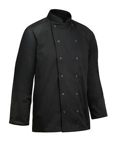 Black Special Polly Cotton Chef Jacket Long Sleeve for UNISEX kitchen cloths