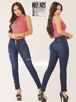 Jeans Colombian Levanta Cola Blue Butt Lift Tummy Control High Rise Waist Slim