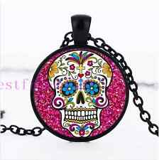 Rose sugar skull Jewelry Necklace Glass Dome Black Pendant Necklace