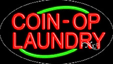 """BRAND NEW """"COIN-OP LAUNDRY"""" 30x17x3 OVAL FLASHING REAL NEON BUSINESS SIGN 14180"""
