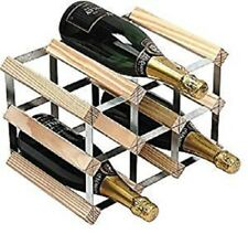 9 Bottle Traditional Wooden Wine Champagne Rack Natural Galvanized Steel Frame