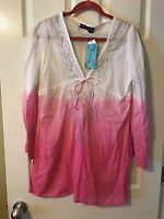 Raviya Swimsuit Cover Up Tunic Dress Size L White and Pink Long sleeve NWT