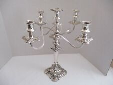"Gorham Mfg. Co. Baroque Repousse Silver Plated 5 Arm Candelabra 17"" Inch"
