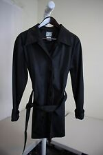 T. Z 100% Polyurethane Black Lined Belted 5 Button Raincoat Size - Large