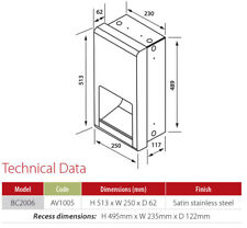 BC2006 Velocity Semi-Recessed Hand Dryer