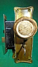VINTAGE MORTISE LOCK w/PLATES, KNOBS & KEY!!  SHABBY CHIC - CLEAR COATED (11169)