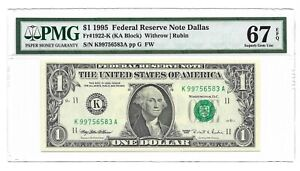 1995 $1 DALLAS FRN, PMG SUPERB GEM UNCIRCULATED 67 EPQ BANKNOTE