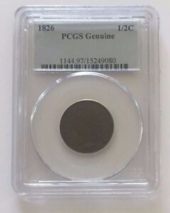1826 1/2 C COIN US Currency Half Cent GENUINE Money Classic Head PCGS Certified