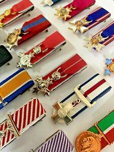 BRITISH ORDERS&DEC,WW1&WW2,CAMPAIGN,JUBILEE, LS&GC,NATO MINI COURTMOUNTED MEDALS