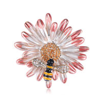 Rhinestone Crystal Flower with Bee Gold Plated Animal Scarf Pin and Brooch