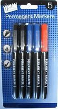 PACK OF 5 PERMANENT MARKERS 2 BLACK 2 BLUE 1 RED