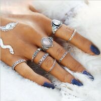 8PCS New Bohemian Vintage Women Silver Water Drop Turquoise Finger Rings Punk
