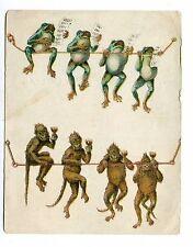 Victorian Trade Card BOSTON & MERIDEN CLOTHING Singing Frogs Drinking Monkeys