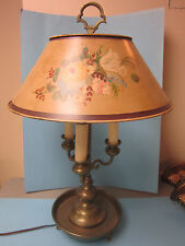 Antique French Empire Bronze Ormolu Bouillotte Lamp Painted Tole Shade 3 Lights