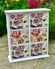 Wooden Storage Cabinet Table Top Unit 6 Chest Of Drawers Floral Jeweled Handles