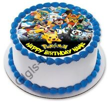 Pokemon Go Personalised Edible Kids Party Cake Decoration Topper Round Image