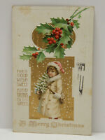 ca.1911 Merry Christmas Embossed Color Postcard Young Friend Holly Posted 1911